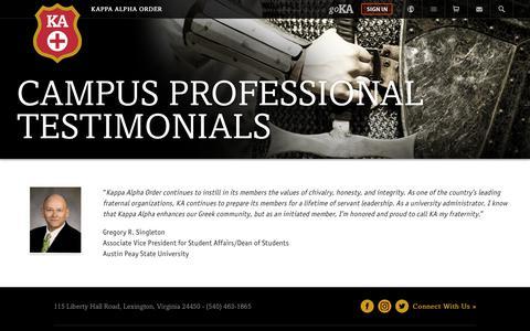 Screenshot of Testimonials Page kappaalphaorder.org - Kappa Alpha Order Testimonials - Kappa Alpha Order - captured Sept. 20, 2018
