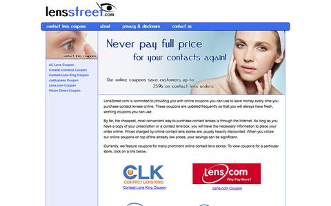 Screenshot of Home Page lensstreet.com - Great Coupons for Contact Lenses - captured Nov. 6, 2016