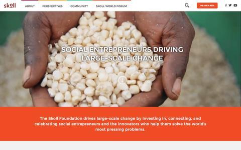 Screenshot of Home Page skoll.org - Skoll | Social Entrepreneurs Driving Large-scale Change - captured Oct. 27, 2015