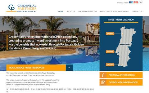Screenshot of Home Page credentialpartners.com - Golden VISA Portugal - Credential Partners - captured Oct. 3, 2014