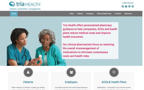 Screenshot of Home Page About Page Privacy Page Contact Page Press Page Jobs Page FAQ Page triahealth.com - Home - Tria Health - captured Oct. 7, 2014
