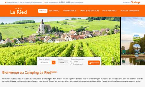 Screenshot of Home Page camping-ried.com - Camping le Ried 3 - Camping en Alsace. - captured Oct. 16, 2015