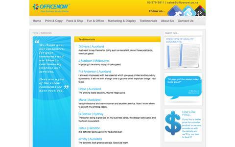 Screenshot of Testimonials Page officenow.co.nz - Office Now - Testimonials - captured Oct. 27, 2014