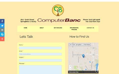 Screenshot of Contact Page computerbanc.org - Contact Us - captured May 19, 2017