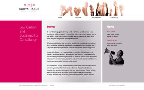 Screenshot of Home Page sustainablesupport.org.uk - Sustainable Support Partners | Low Carbon and Sustainability Consultancy - captured Oct. 7, 2014