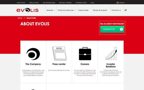 Screenshot of About Page evolis.com - About Evolis | Evolis - captured July 21, 2018