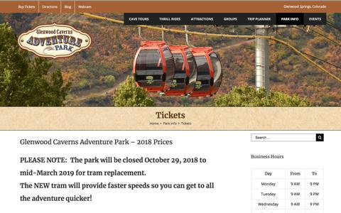 Screenshot of Pricing Page glenwoodcaverns.com - Glenwood Caverns Adventure Park Tickets & Prices - captured June 30, 2018