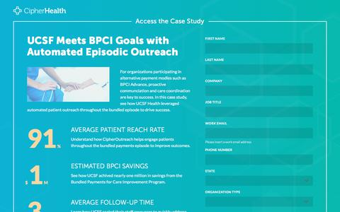 Screenshot of Landing Page cipherhealth.com - Meet BPCI Goals with Automated Episodic Outreach - captured Jan. 1, 2020