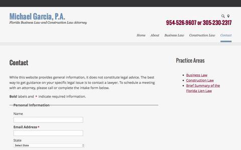 Screenshot of Contact Page garciapa.com - Contact | Michael Garcia, P.A. | Plantation, Florida - captured Jan. 25, 2016