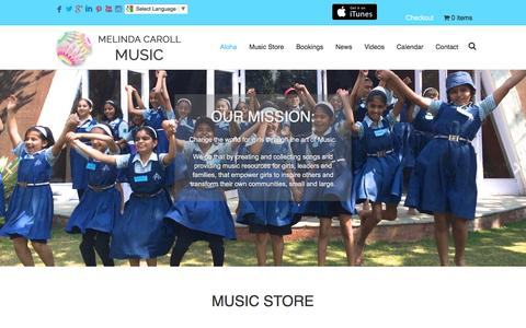 Screenshot of Home Page melindacarollmusic.com - Melinda Caroll Music | Aloha and Welcome to Empowering Songs for Girls - captured Feb. 1, 2017