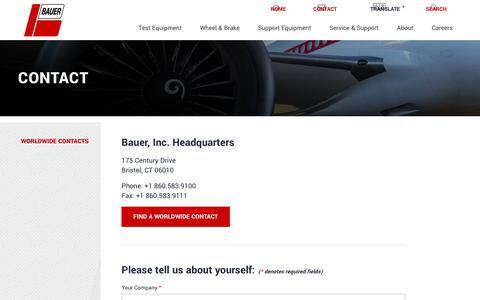 Screenshot of Contact Page bauerct.com - Contact | Bauer, Inc. - captured Oct. 5, 2018