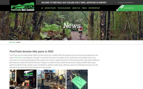 Screenshot of Press Page puretrailsnewzealand.co.nz - News of PureTrails New Zealands South Island cycle tours - captured June 30, 2018