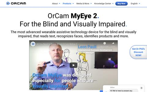 Screenshot of Products Page orcam.com - OrCam MyEye 2.0 - captured Nov. 28, 2019