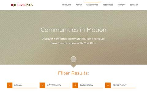 Screenshot of Case Studies Page civicplus.com - Local Government Website Design Case Studies - captured Jan. 22, 2016