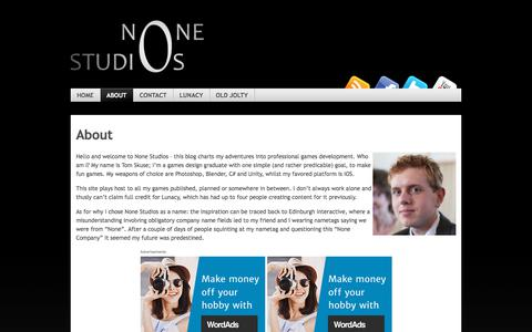 Screenshot of About Page none-studios.com - About   None Studios - captured April 1, 2018