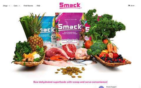 Screenshot of Home Page smackpetfood.com - Smack Pet Food - 5-STAR RATED - Whole Raw Foods | Kibble Convenience – Smack Pet Food | USA - captured July 1, 2019