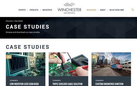 Screenshot of Case Studies Page winchesterelectronics.com - Case Studies - Winchester - captured Aug. 18, 2016