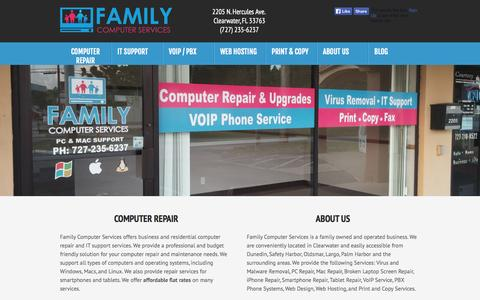 Screenshot of Home Page fcs.io - Computer Repair Clearwater, FL - Family Computer Services - captured Oct. 5, 2014