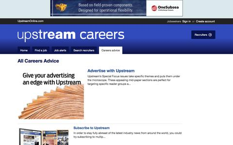 Screenshot of Jobs Page upstreamonlinecareers.com - Articles and careers information on Upstream Careers - captured June 8, 2016