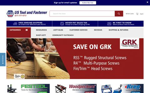 Screenshot of Home Page ustoolandfastener.com - US Tool & Fastener, Festool, Woodpeckers, Kreg, Amana Bits, Stabila - captured Nov. 2, 2018