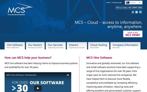 Screenshot of Home Page mcsanz.com.au - Equipment Rental Software and Hire Software – MCS - captured Jan. 27, 2017