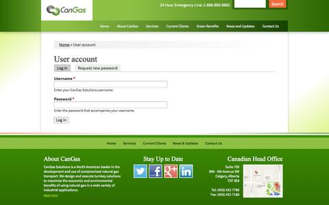 Screenshot of Login Page cangassolutions.com - User account | CanGas Solutions - captured Oct. 2, 2014
