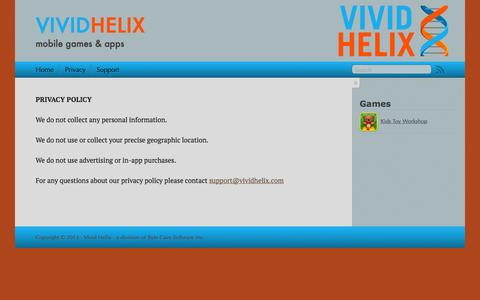 Screenshot of Privacy Page vividhelix.com - Vivid Helix - captured Oct. 7, 2014