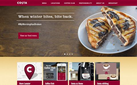 Screenshot of Home Page costa.co.uk - The Nation's Favourite Coffee Shop | Costa Coffee - captured Feb. 18, 2016