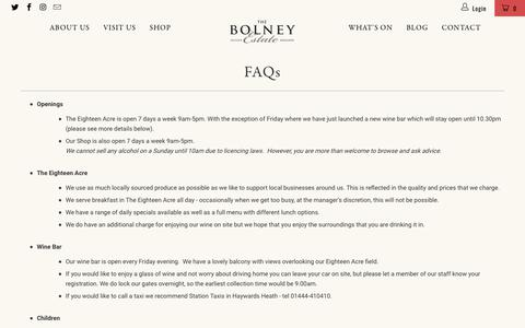Screenshot of FAQ Page bolneywineestate.com - FAQs - Bolney Wine Estate Limited - captured Aug. 3, 2018