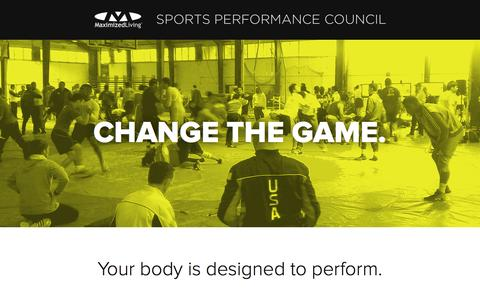 Screenshot of Home Page maximizedlivingsports.com - Maximized Living Sports Performance Council - captured Jan. 28, 2015