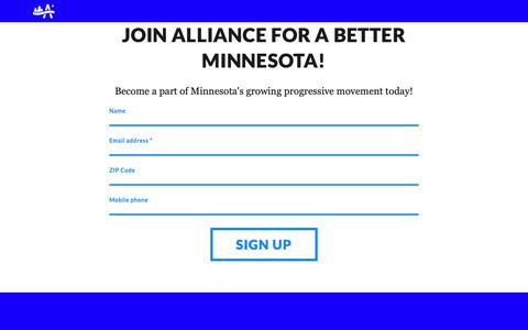 Screenshot of Signup Page abetterminnesota.org - Join Alliance for a Better Minnesota! - Alliance for a Better Minnesota - captured Oct. 4, 2018
