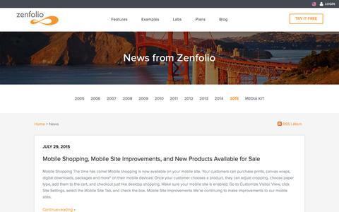 Screenshot of Press Page zenfolio.com - News - Zenfolio - captured Oct. 2, 2015