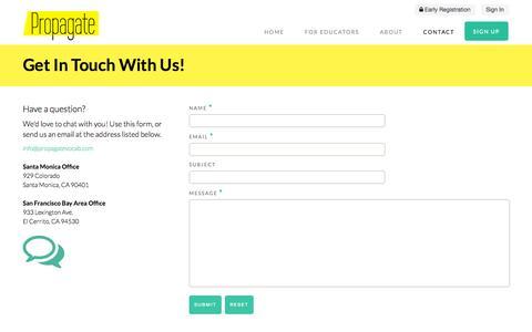 Screenshot of Contact Page mypropagate.com - Contact Us | Propagate - captured Oct. 3, 2014