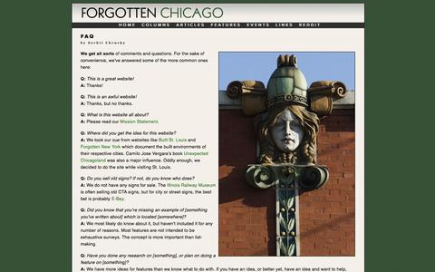 Screenshot of FAQ Page forgottenchicago.com - FAQ | Forgotten Chicago | History, Architecture, and Infrastructure - captured May 9, 2017
