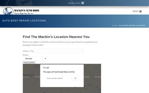 Screenshot of Locations Page mackinsab.com - Find Your Closets Mackin's Auto Body Location | Mackin's Auto Body - captured Oct. 1, 2018