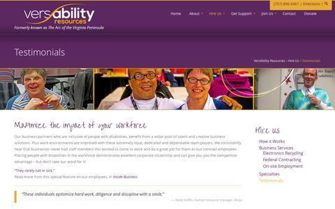 Screenshot of Testimonials Page versability.org - Testimonials - VersAbility Resources - captured Oct. 26, 2014