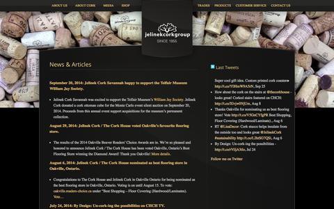 Screenshot of Press Page jelinek.com - News & Articles  | Jelinek Cork - captured Oct. 4, 2014
