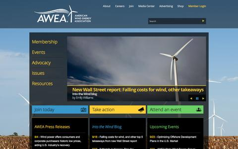 Screenshot of Home Page awea.org - AWEA - American Wind Energy Association - captured Sept. 19, 2014