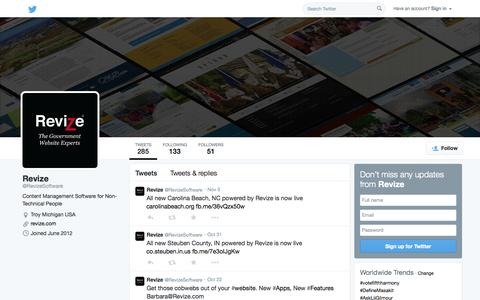 Screenshot of Twitter Page twitter.com - Revize (@RevizeSoftware) | Twitter - captured Nov. 5, 2014