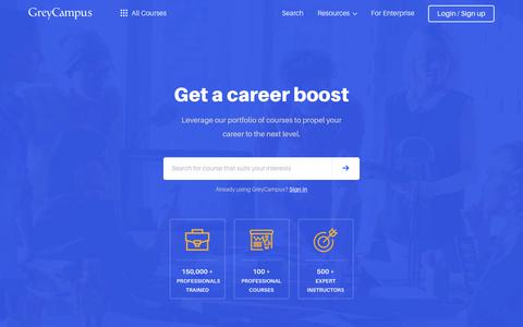 Screenshot of Home Page greycampus.com - GreyCampus | Training for Professional Certifications - captured Sept. 20, 2019