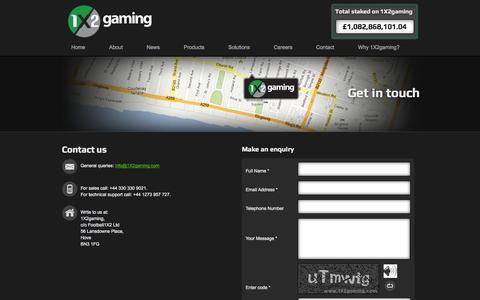 Screenshot of Contact Page 1x2gaming.com - Contact us  | 1X2gaming - captured Oct. 27, 2014