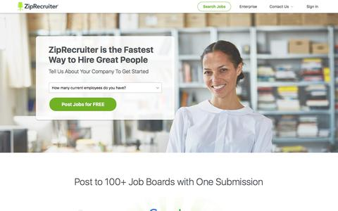 Screenshot of Landing Page ziprecruiter.com - Post a Job to 100+ Job Boards Free with 1-Click | ZipRecruiter - captured Sept. 5, 2017