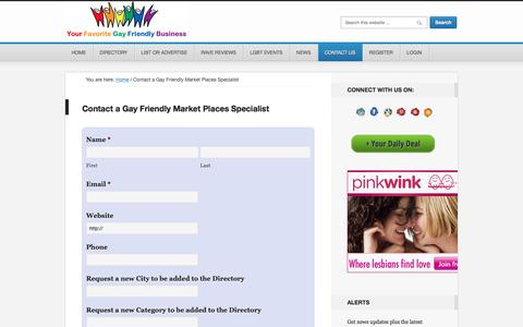 Screenshot of Contact Page gayfriendlymarket.com - Contact Gay Friendly Market Places Specialist - captured April 9, 2017