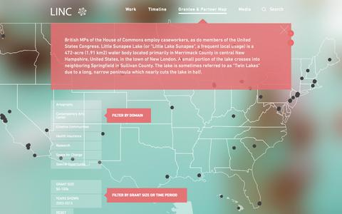 Screenshot of Maps & Directions Page lincnet.net - Grantee & Partner Map - LINC - captured Oct. 2, 2014