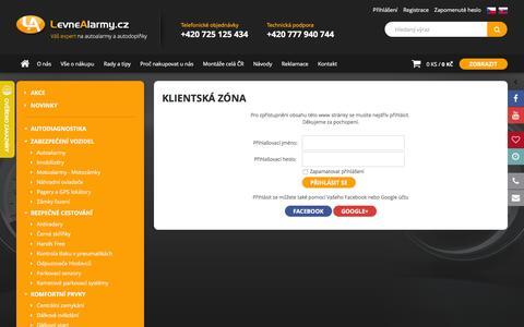 Screenshot of Login Page levnealarmy.cz - Levné Alarmy.cz - autoalarmy, centrální zamykání, parkovací senzory, LED světla a další - captured Feb. 18, 2016