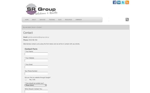 Screenshot of Contact Page srgroup.net.au - Contact Us | srgroup.net.au - captured Oct. 3, 2014