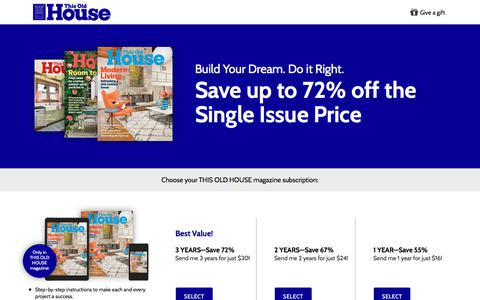 Screenshot of Landing Page buysub.com - This Old House - captured Sept. 22, 2018