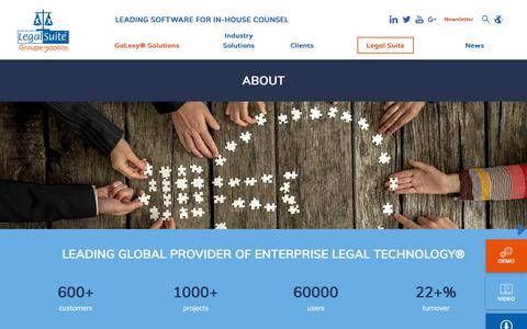 Screenshot of About Page legal-suite.com - About - Legal Suite, leading software for in-house counsel and global provider of Enterprise Legal Technology® - captured July 17, 2018