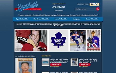 Screenshot of Home Page fastballcollectibles.com - Sports Collectibles Store, Movie Collectibles, Sports Memorabilia - captured Oct. 5, 2014