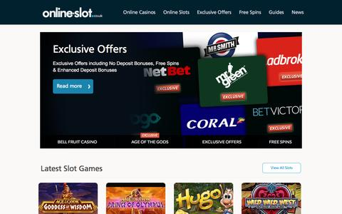 Screenshot of Home Page online-slot.co.uk - Online-Slot.co.uk – Play Slots Online & Read Slot Reviews - captured Aug. 25, 2016